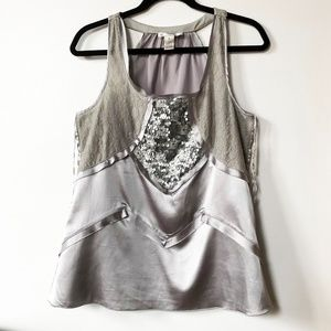 Kenar Sequin Laced Top M silky silver